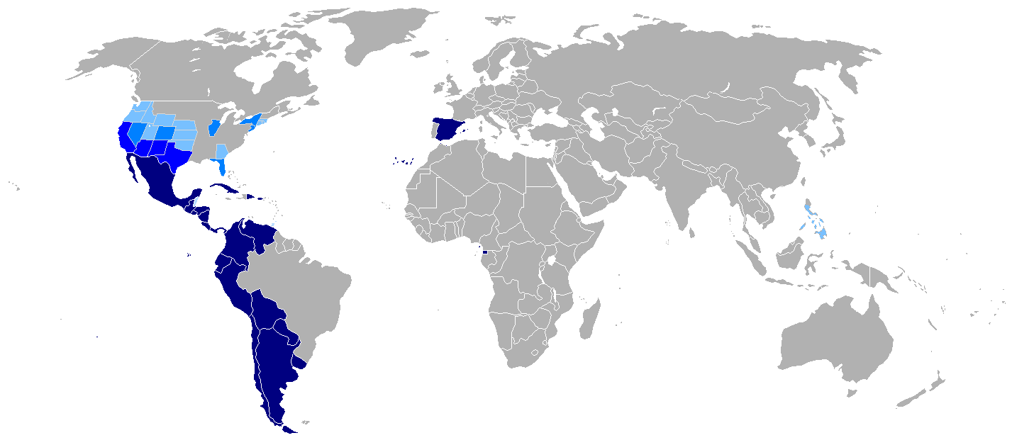 Map of the Hispanophone World (wikipedia)